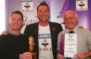 Denstone Hall Farm Shop's prize sausage and Craig Revel Horwood