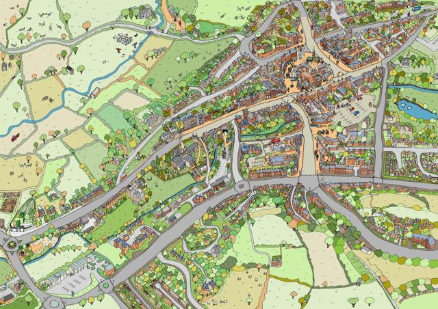 Birds eye view map of Ashbourne