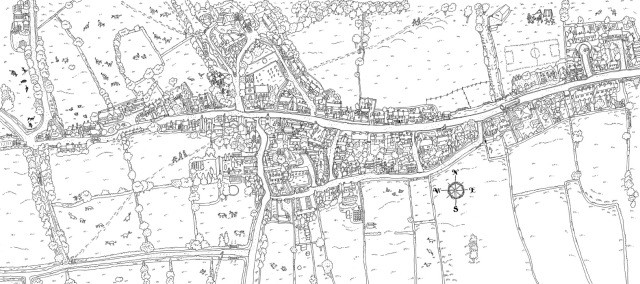 Black and white digital version of the Elton birds eye view map
