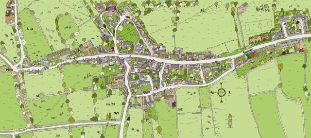 Birds eye view map of Elton Village Derbyshire Peak District