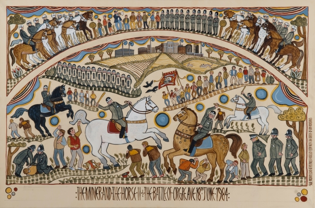 Folk art egg tempera painting of the Miners strike, battle at the Orgreave coking plant 1984
